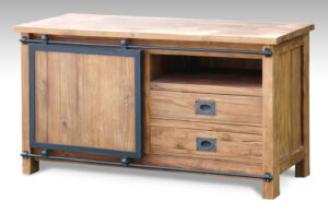 teak tv meubel industrieel
